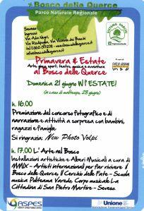 Locandina dell'evento organizzato da sistema parchi Regione Lombardia e Spazio Giovani di Seveso