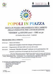 Programma della serata della festa dei Popoli in piazza, 15 giugno 2007 , Varedo (MI)