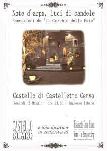 Locandina della serata al Castello del Guado - Castelletto Cervo (BI)