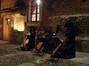 musica d'arpa, luci di candele ....