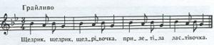 Il disegno melodico originale del brano ucraino
