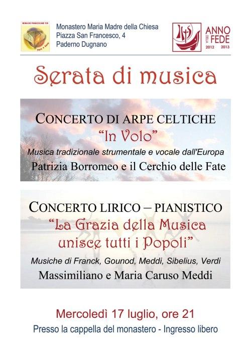 La locandina del doppio concerto presso la cappella del monastero francescano a Paderno Dugnano (MI)